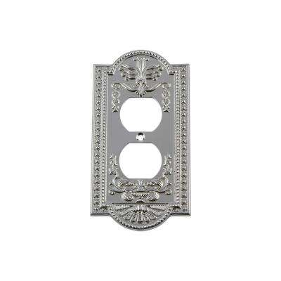 Meadows Switch Plate with Outlet in Bright Chrome
