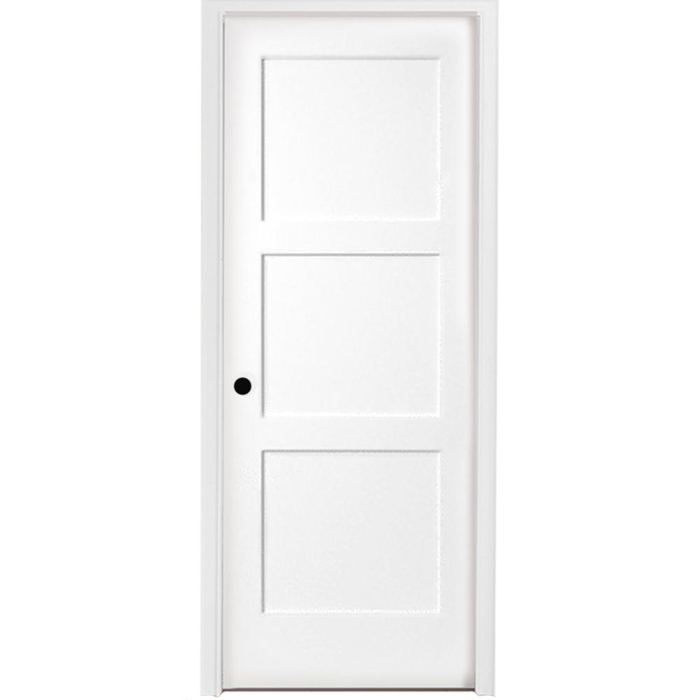 Steves Sons 36 In X 80 3 Panel Equal Shaker White Primed Rh Solid Core Wood Single Prehung Interior Door With Bronze Hinges