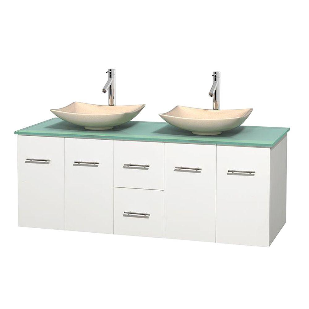 Wyndham Collection Centra 60 in. Double Vanity in White with Glass Vanity Top in Green and Sinks