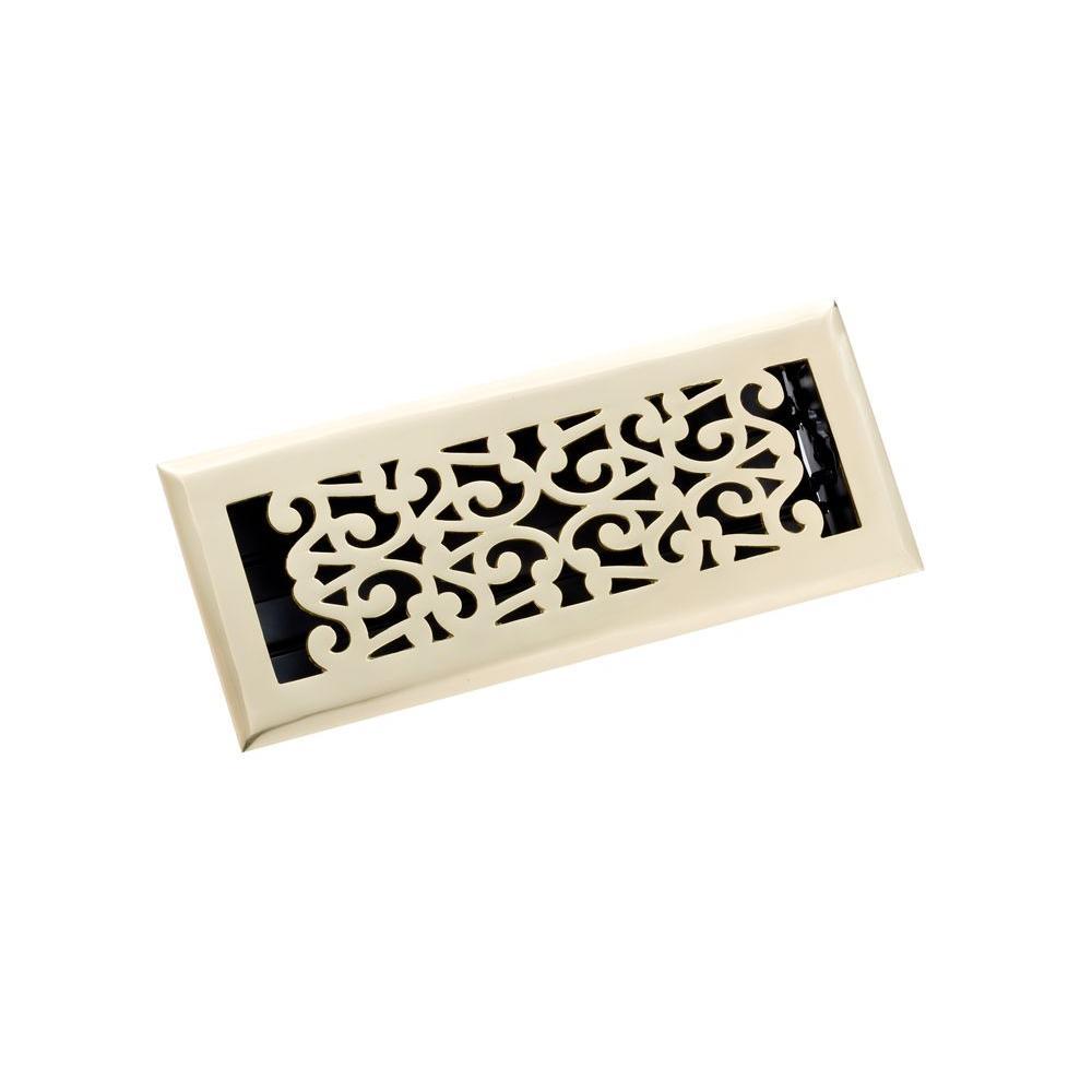 4 in. x 12 in. Scroll Floor Register, Polished Brass