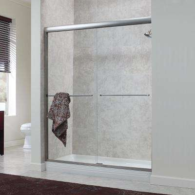 Cove 48 in. x 72 in. H. Semi-Framed Sliding Shower Door in Brushed Nickel with 1/4 in. Clear Glass