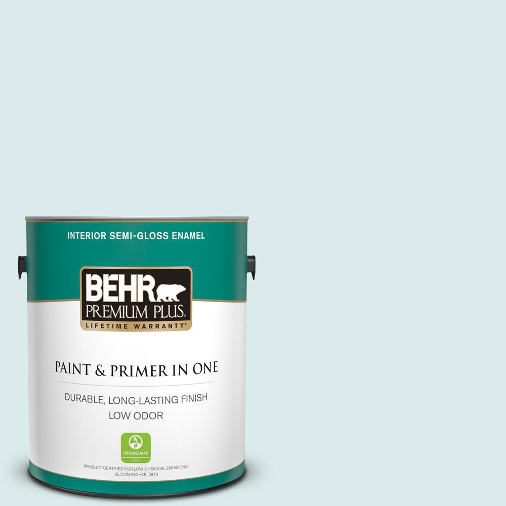 Behr Premium Plus 1 Gal 510e 1 Ice Folly Semi Gloss Enamel Low Odor Interior Paint And Primer In One 305001 The Home Depot