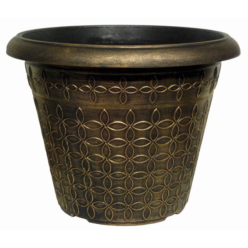 null 17.9 in. Mod Floral Black Bronze Plastic Planter
