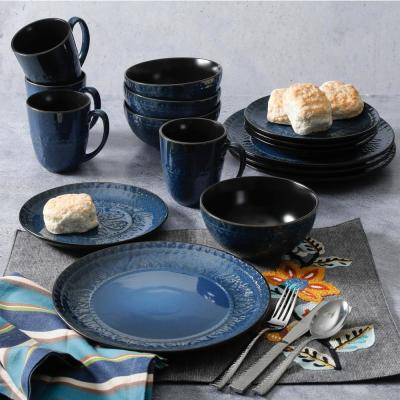 Milanto 16-Piece Blue Dinnerware Set