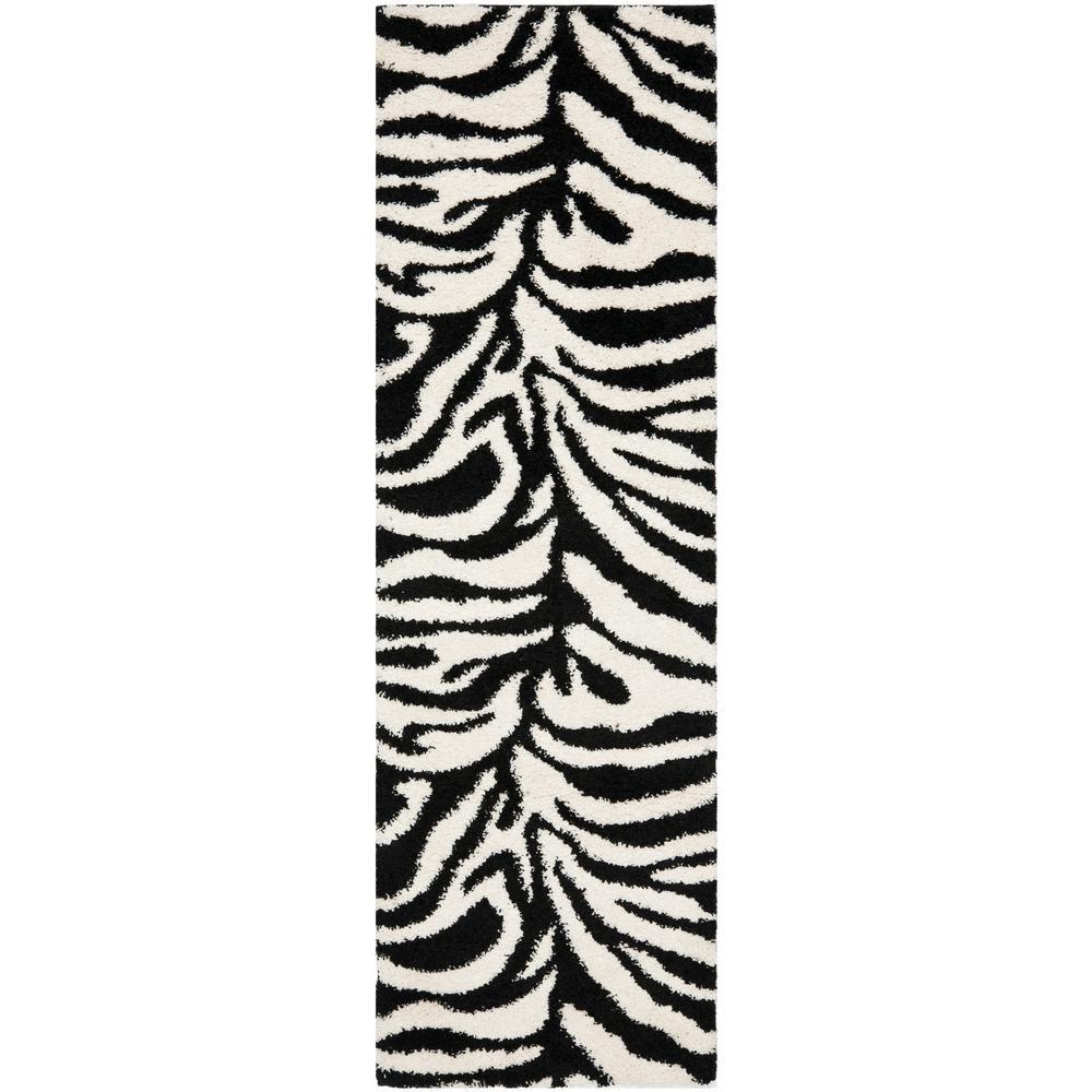 Florida Shag Ivory/Black 2 ft. x 7 ft. Runner Rug
