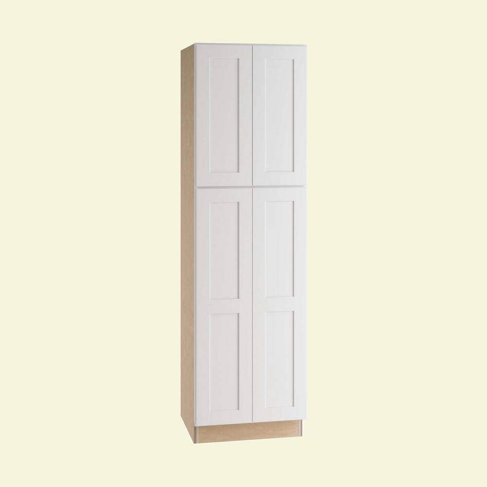 Home Decorators Collection Newport Assembled 24 x 84 x 24 in. Pantry/Utility Cabinet with 4 Rollout Trays in Pacific White