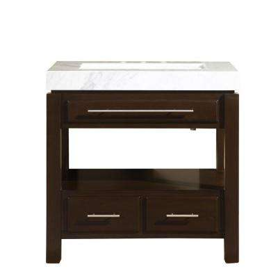 36 in. W x 23 in. D Vanity in Dark Espresso with Marble Vanity Top in Carrara White with Stone Ramp Basin