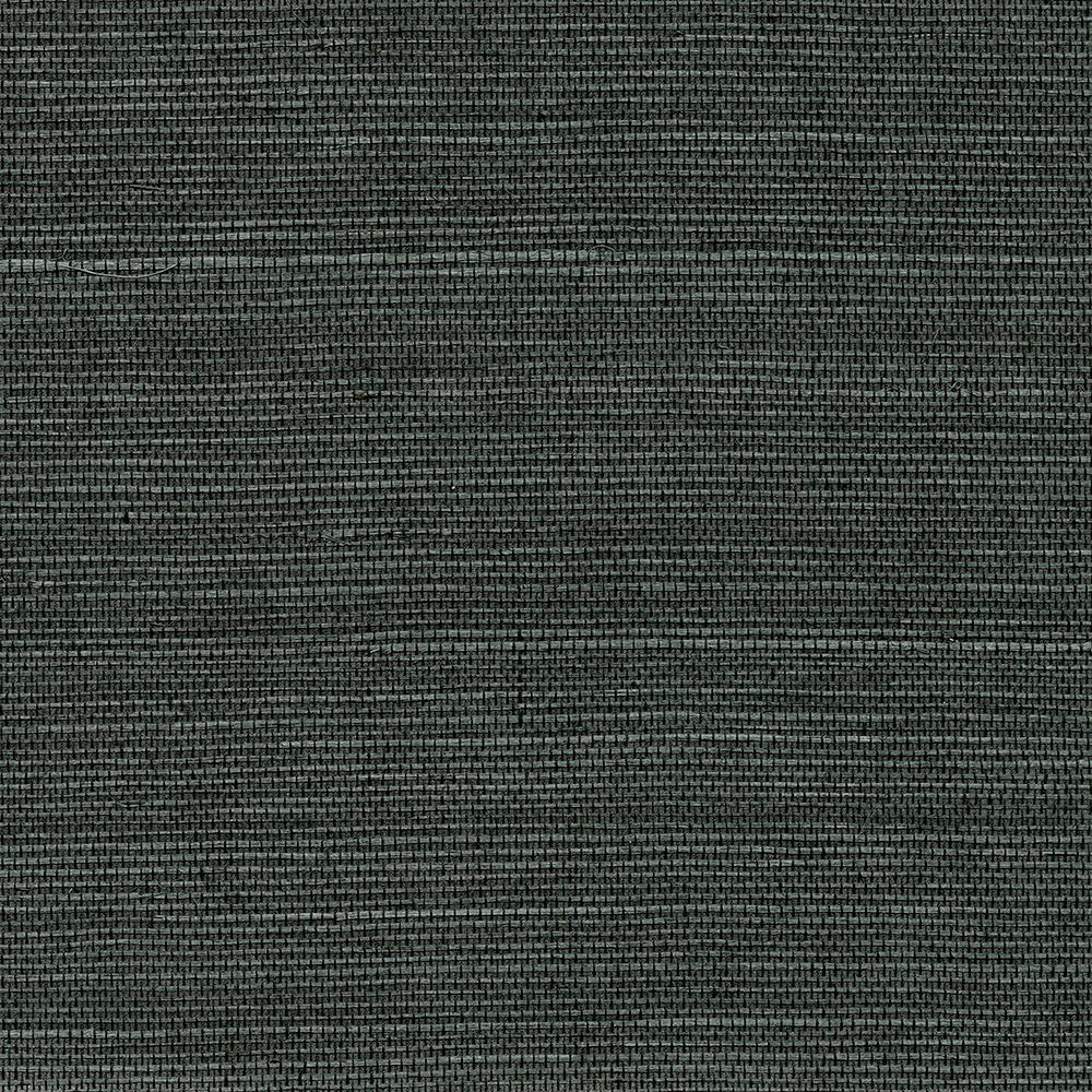 Kenneth James 72 sq. ft. Kowloon Charcoal Sisal Grass Cloth Wallpaper