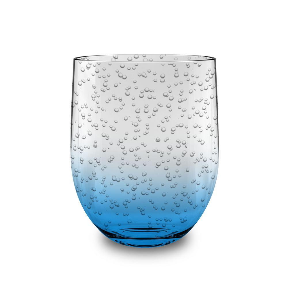 16 oz. Bubble Glass Ocean Blue Stemless (Set of 6)