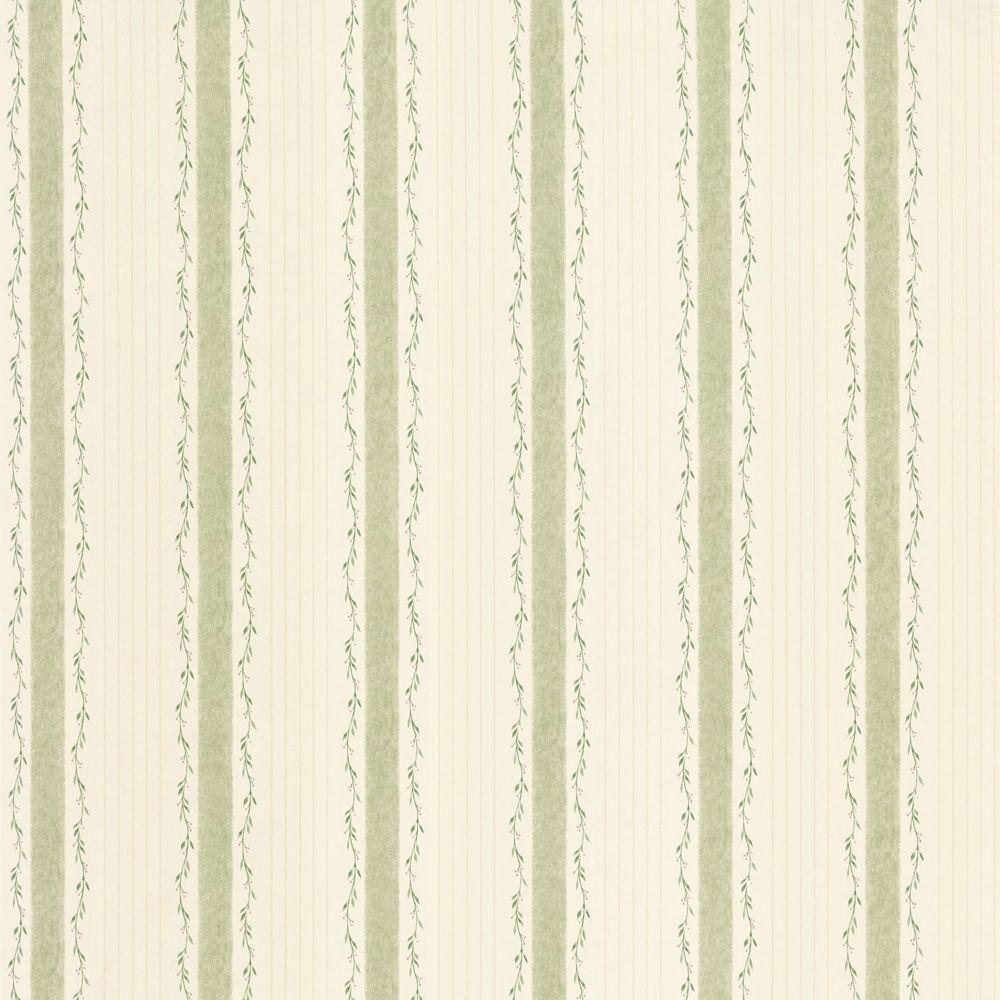 The Wallpaper Company 56 sq. ft. Green Country Stripe Wallpaper-DISCONTINUED