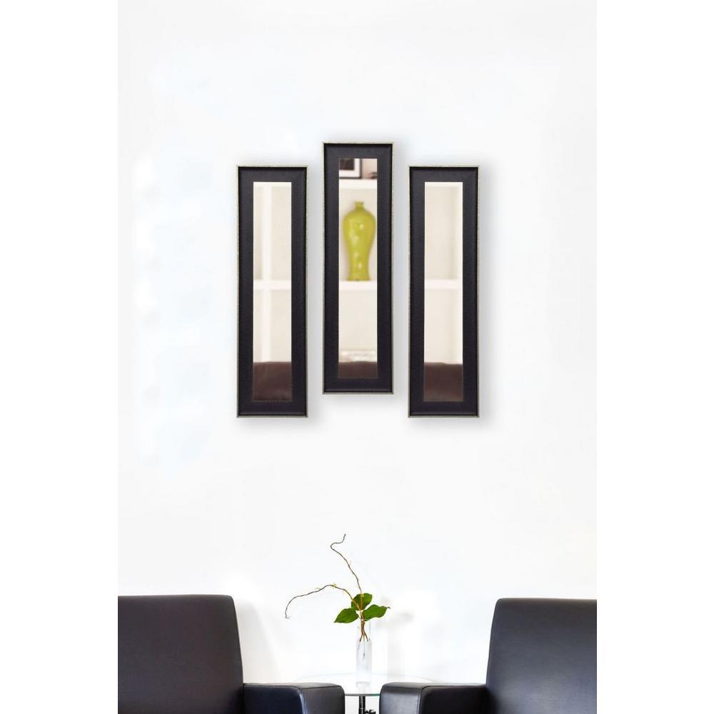 13.5 in. x 27.5 in. Vintage Black Vanity Mirror (Set of 3-Panels)