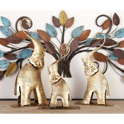 Elephant Iron Decorative Sculptures in Tarnished Gold (Set of 3)