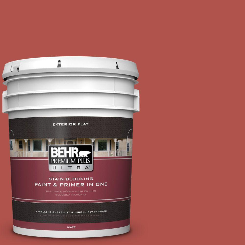 5-gal. #BIC-48 Fortune Red Flat Exterior Paint
