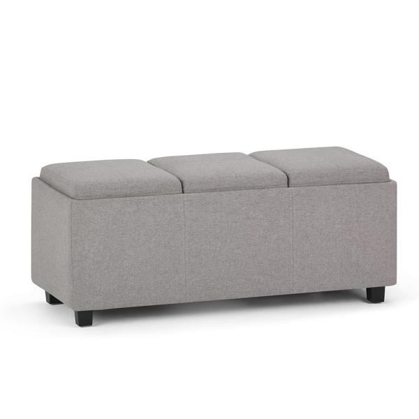 Avalon 42 in. Contemporary Storage Ottoman in Cloud Grey Linen Look Fabric