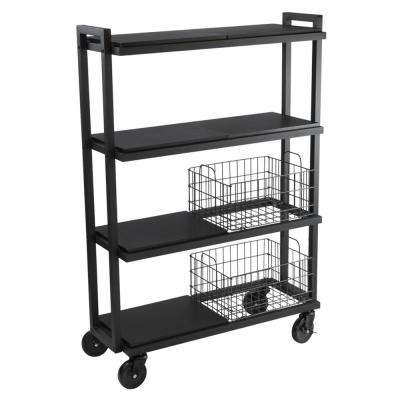 4-Tier Cart System Wide in Black