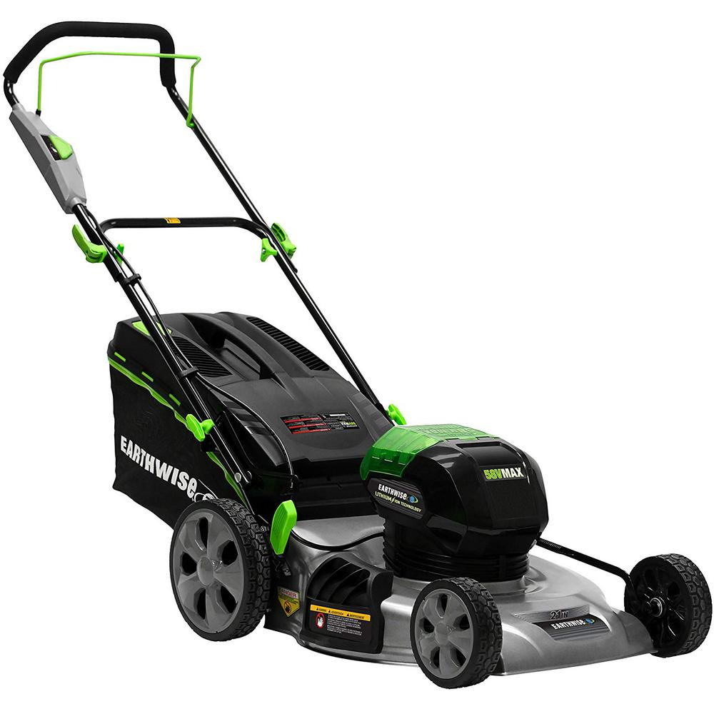 Earthwise 21 in. 58-Volt Lithium-Ion Cordless Walk Behind Push Lawn Mower with 4 Ah Battery Included