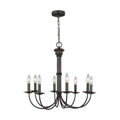 Tyler 24.25 in. W x 23 in. H 8-Light Espresso Distressed Bronze Traditional Candle Style Chandelier
