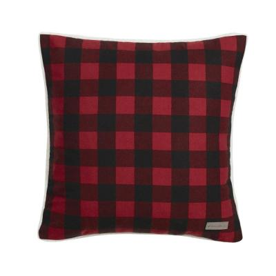 Cabin Plaid Collection Red Geometric Polyester 20 in. x 20 in. Throw Pillow