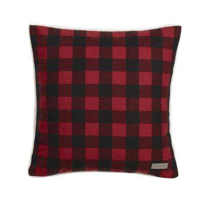 Cabin 20 in. x 20 in. Red Square Pillow
